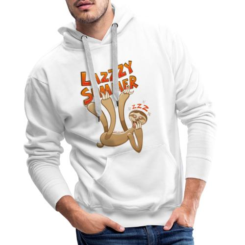 Sleepy sloth yawning and enjoying a lazy summer - Men's Premium Hoodie