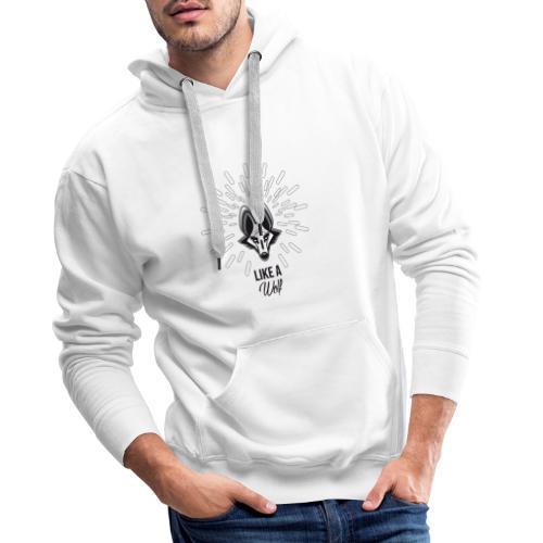 loup gris - Sweat-shirt à capuche Premium pour hommes