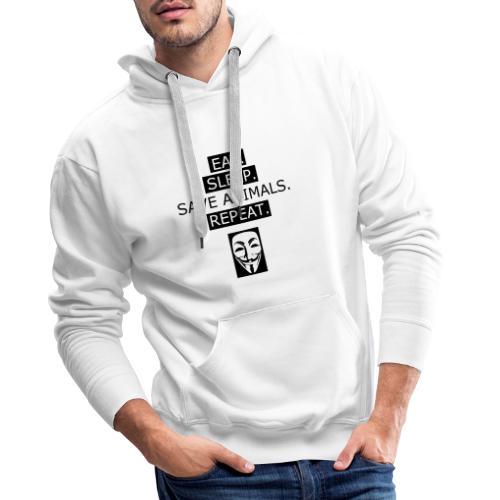 Eat Sleep Save Animals - Sweat-shirt à capuche Premium pour hommes