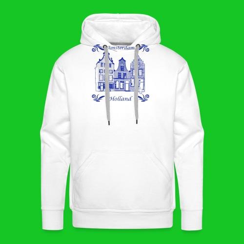 Holland Grachtenpanden Delfts Blauw - Mannen Premium hoodie