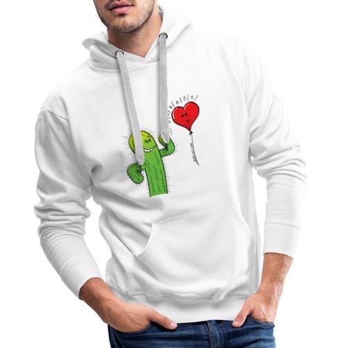 Cactus Flirting with a Heart Balloon - Men's Premium Hoodie