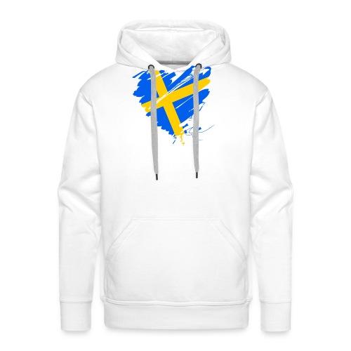 Schweden Skandinavien Europa Fahne Grunge Herz - Men's Premium Hoodie