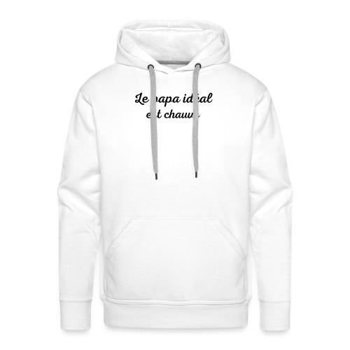 t-shirt fete des pères le papa idéal est chauve - Sweat-shirt à capuche Premium pour hommes