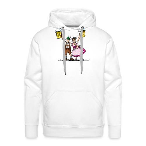 Fröhliches Oktoberfest Paar mit Bierkrug - Männer Premium Hoodie