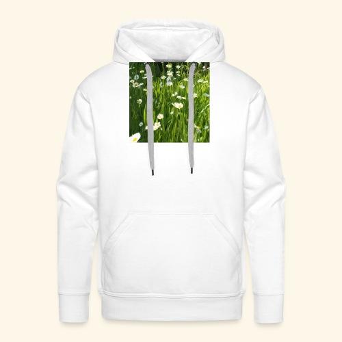 Prato fiorito disegnato - Felpa con cappuccio premium da uomo