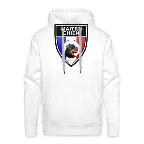 Ecusson noir maitre-chien rottweiller - Sweat-shirt à capuche Premium pour hommes