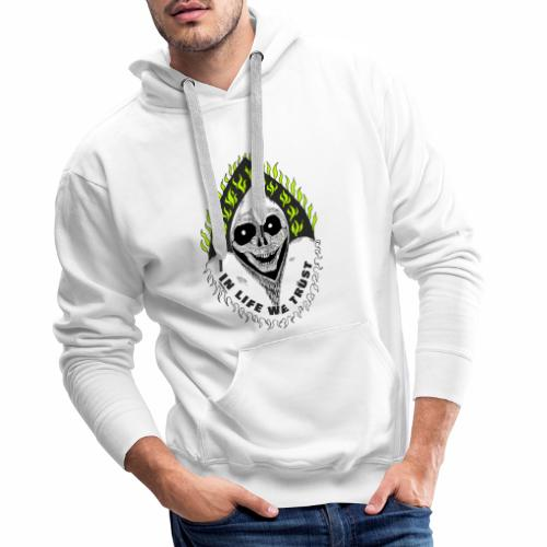 Image of death v2 with text IN LIFE WE TRUST - Sweat-shirt à capuche Premium pour hommes