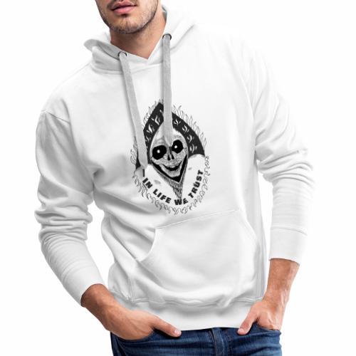 Grimp reaper with text IN LIFE WE TRUST b&w - Sweat-shirt à capuche Premium pour hommes