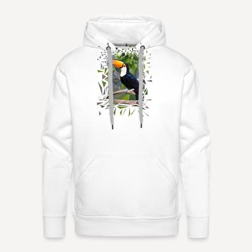Toucan Low Poly - Felpa con cappuccio premium da uomo