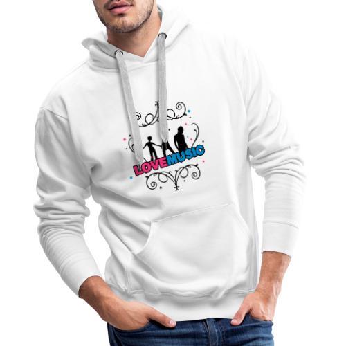 Motif Love Music - Sweat-shirt à capuche Premium pour hommes