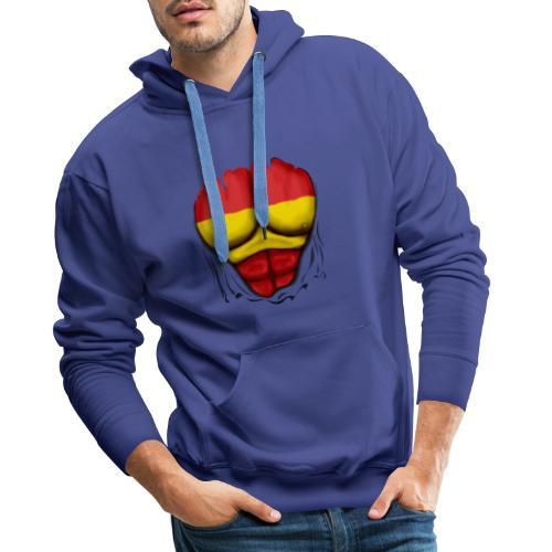 España Flag Ripped Muscles six pack chest t-shirt - Men's Premium Hoodie