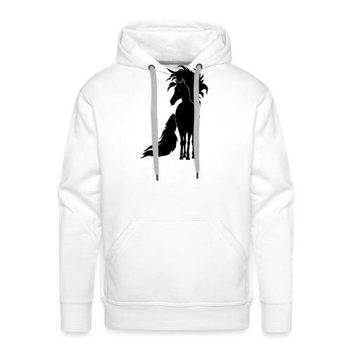 Pferd mit mähne schwarz - Männer Premium Hoodie