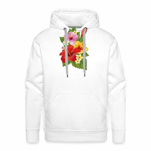 Flor de Verano Rosas y flores verdes - Sudadera con capucha premium para hombre