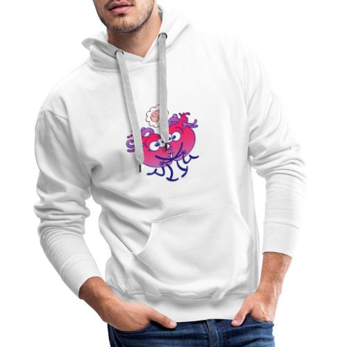 Hearts in love thinking too much when kissing - Men's Premium Hoodie