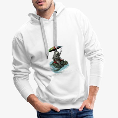 Two toed Sloth riding a turtle - Men's Premium Hoodie