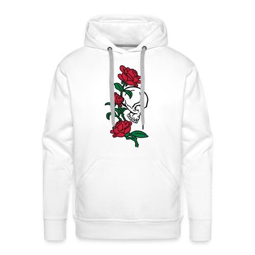 teschio e rose es123_2 - Felpa con cappuccio premium da uomo