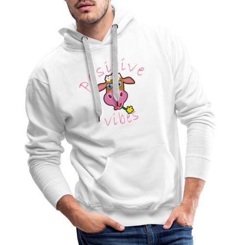 positive cow pink - Felpa con cappuccio premium da uomo
