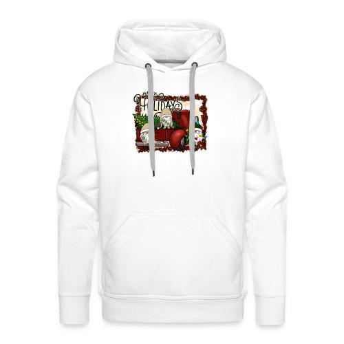 happy holidays gnomes Christmas Truck - Men's Premium Hoodie