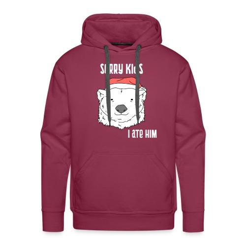 Funny Christmas gift. Bear ate Santa Claus joke. - Men's Premium Hoodie