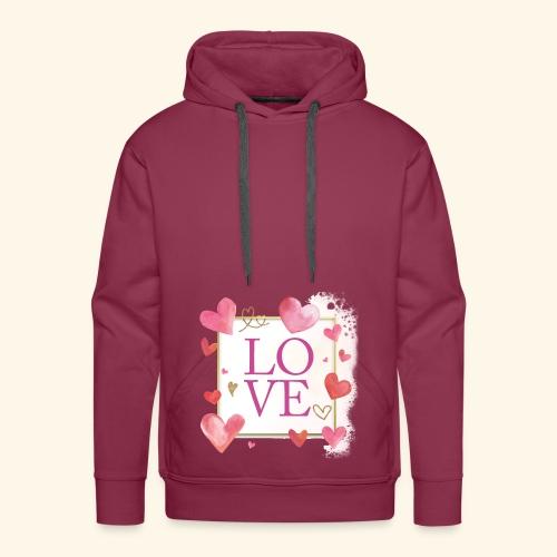 LOVE E HEARTS - Felpa con cappuccio premium da uomo