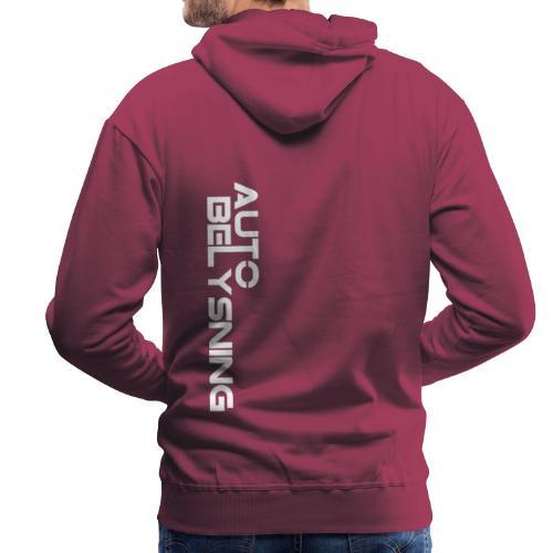 logo hvit - Premium hettegenser for menn
