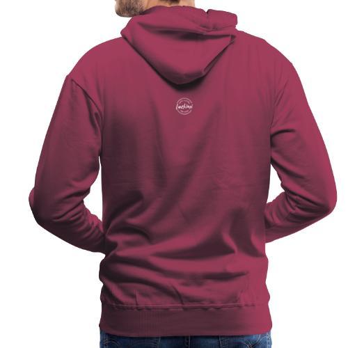 Luckimi logo white small circle on sleeve or back - Men's Premium Hoodie