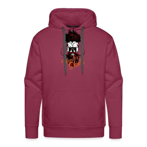 tete de mort hipster skull logo crane barbu barbe - Sweat-shirt à capuche Premium pour hommes