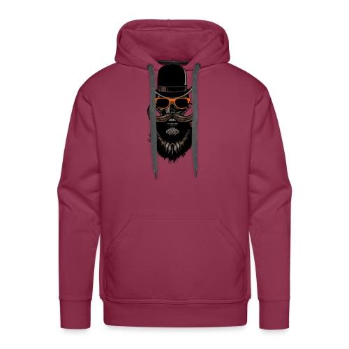 tete de mort crane hipster skull chapeau melon lun - Sweat-shirt à capuche Premium pour hommes