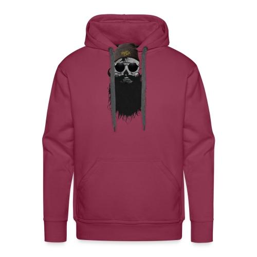 hipster skulls tete de mort crane bonnet moustache - Sweat-shirt à capuche Premium pour hommes