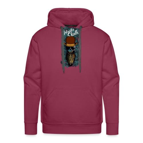 tete de mort hipster skull barbu chapeau melon cra - Sweat-shirt à capuche Premium pour hommes