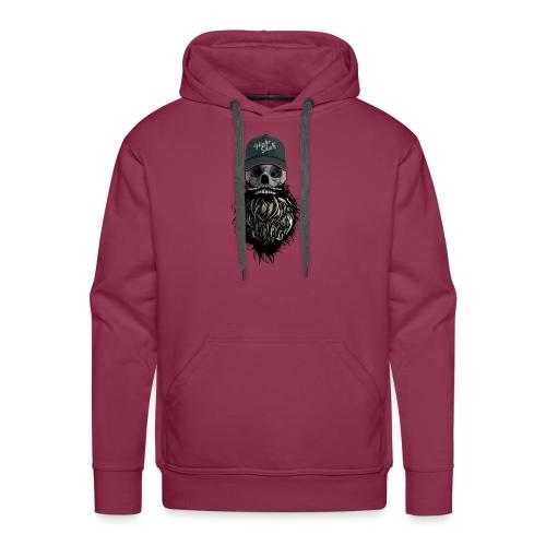 tete de mort hipster casquette logo skull barbu cr - Sweat-shirt à capuche Premium pour hommes