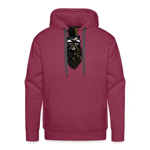 tete de mort hipster crane skull barbu moustachu b - Sweat-shirt à capuche Premium pour hommes