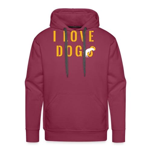 I love dogs2 - Felpa con cappuccio premium da uomo
