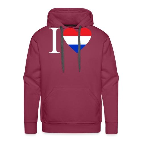 Ik hou van Nederland | Hart met rood wit blauw - Mannen Premium hoodie