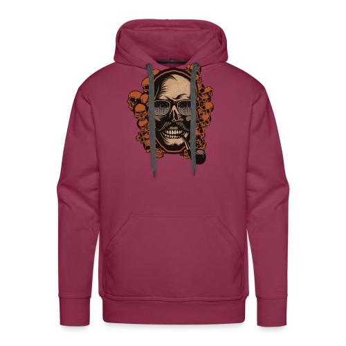 tete de mort hipster skull crane pipe moustache fa - Sweat-shirt à capuche Premium pour hommes
