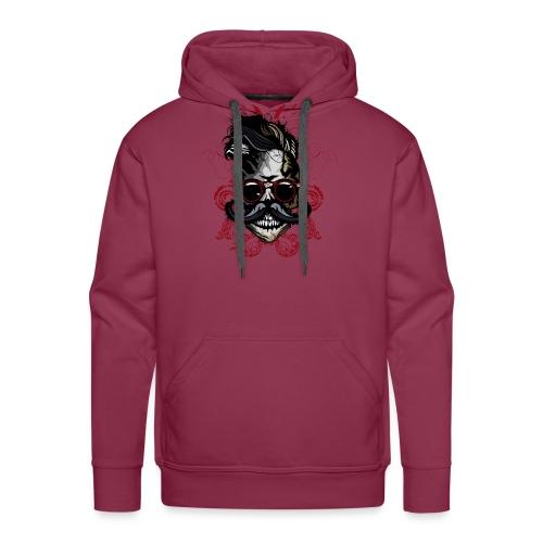 tete de mort hipster fioriture crane skull moustac - Sweat-shirt à capuche Premium pour hommes