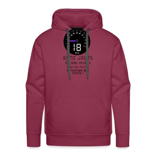 Attention aux excès! 18 ans - Sweat-shirt à capuche Premium pour hommes