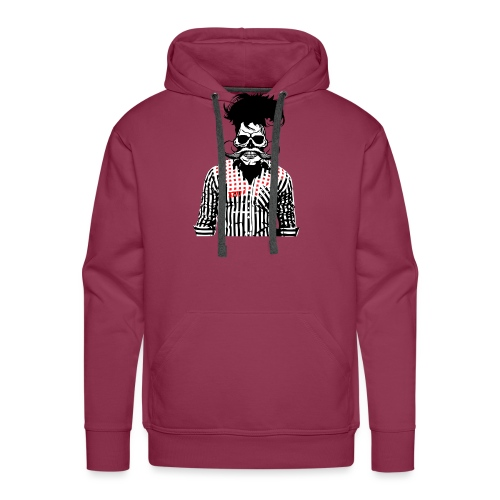 tete de mort hipster chemise skull moustache crane - Sweat-shirt à capuche Premium pour hommes