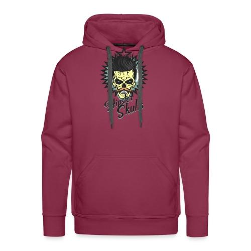 tete de mort hipster skull crane moustache logo co - Sweat-shirt à capuche Premium pour hommes