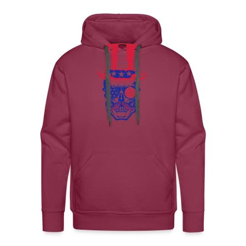 tete de mort hipster crane skull americaine chapea - Sweat-shirt à capuche Premium pour hommes