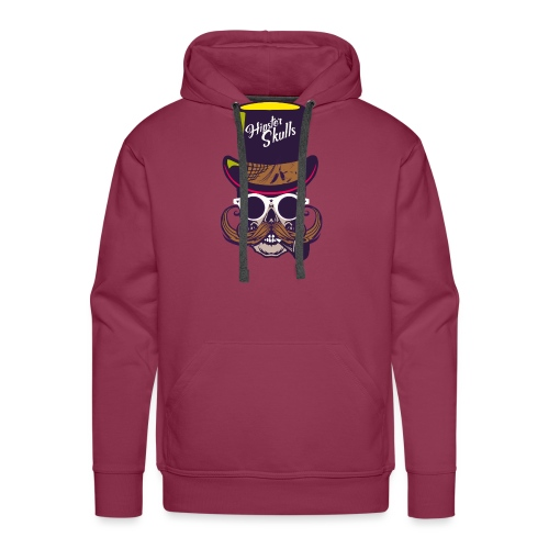 tete de mort crane skull moustache logo pipe lunet - Sweat-shirt à capuche Premium pour hommes
