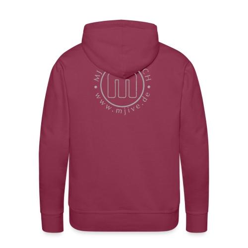 MJive logo with web address, gray - Männer Premium Hoodie