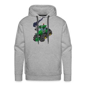 GREEN TRACTOR white border - Mannen Premium hoodie