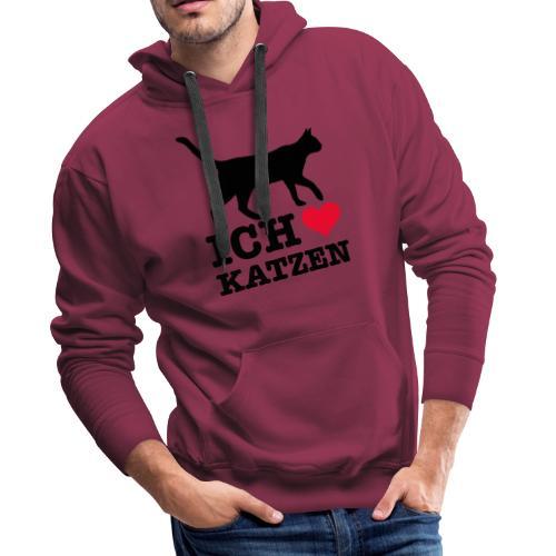 Ich liebe Katzen mit Katzen-Silhouette - Männer Premium Hoodie