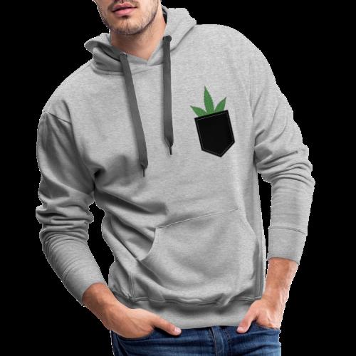 Brusttasche mit Marihuana / Cannabisblatt - Männer Premium Hoodie
