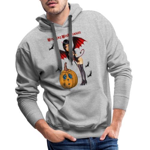 Happy Halloween Kürbis mit Fledermausgirl - Männer Premium Hoodie