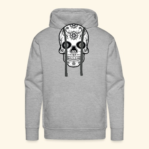 skull and flowers cool - Sudadera con capucha premium para hombre