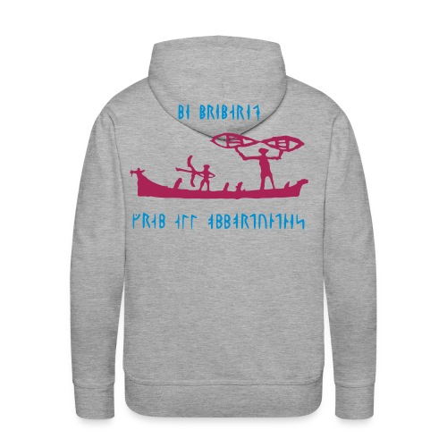 Vikings on a boat with runic text - Men's Premium Hoodie