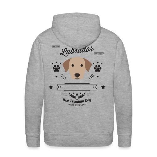 labrador nero - Felpa con cappuccio premium da uomo