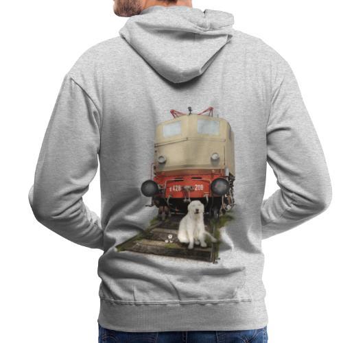 Golden Retriever with Train - Felpa con cappuccio premium da uomo